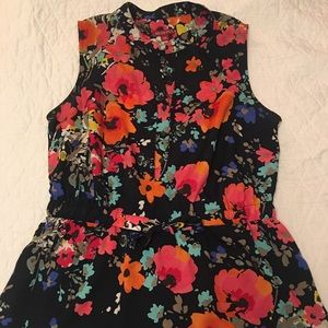 Merona Floral Drawstring Waist Blouse